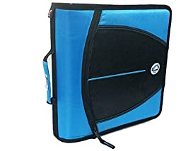 Case-it Mighty Zip Tab 3-Inch Zipper Binder, Neon Blue, D-147-NEOBLU