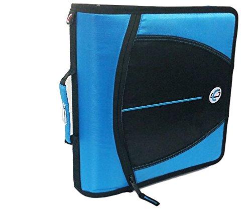 Tangkula Mighty Zip Tab 3-Inch Zipper Binder, Neon Blue, D