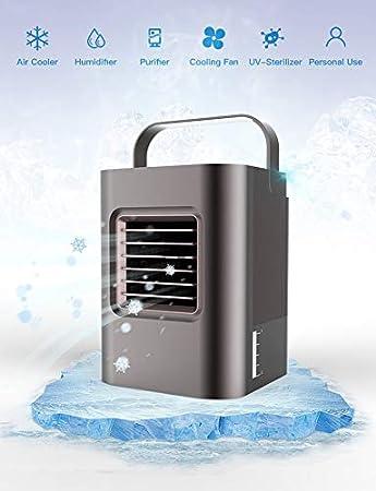 Ventilador de aire anbber Air Cooler con purificador de aire Humidificador enfriamiento de agua, Mini nevera dispositivo sin Canalizado Manguera para oficina, hogar ...