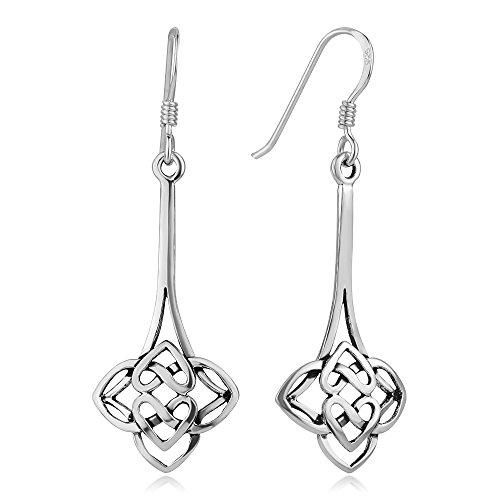 925 Oxidized Sterling Silver Celtic Knot Symbol Heart Shaped Elegant Long Drop Earrings 1.7