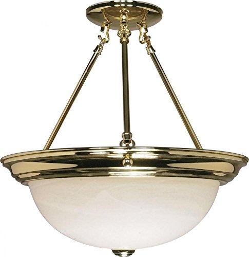 Nuvo Lighting 60/218 Three Light Semi Flush Mount - Brass Semi Flush Ceiling Light