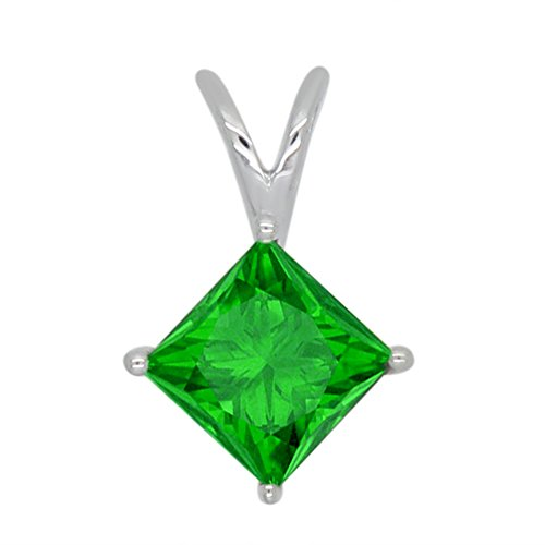 omega jewellery 1.00 Ct Princess Shape Simulated Emerald 925 Sterling Silver Solitaire Pendant Without (Omega Style Necklace)