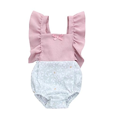 - FEITONG Infant Baby Girls Floral Patchwork Romper Back Cross Jumpsuit Playsuit Clothes Outfits 0-24M