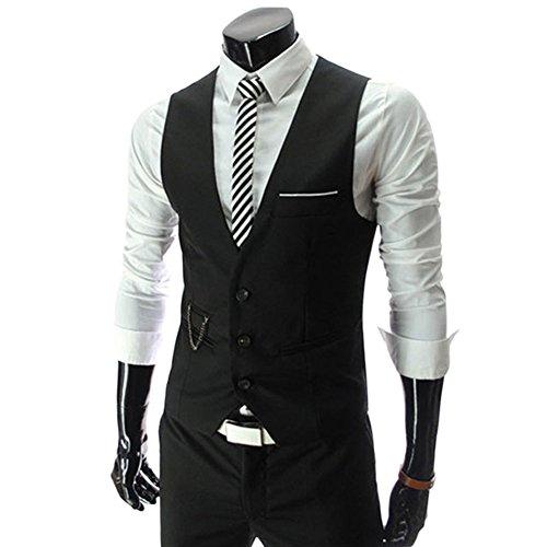 Noir Slim Casual Veste Homme Manches Business Costume Mariage Fit Chouette Vintage Sans Gilet xwOn1I78q