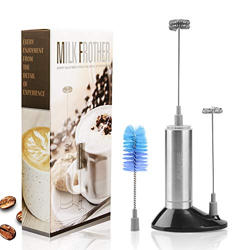 Milk Frother Handheld, Battery Operated Electric Foam Maker for Coffee, LOUTAN Coffee Foamer Drink Mixer with 2 Stainless Steel Whisks for Latte Hot Chocolate