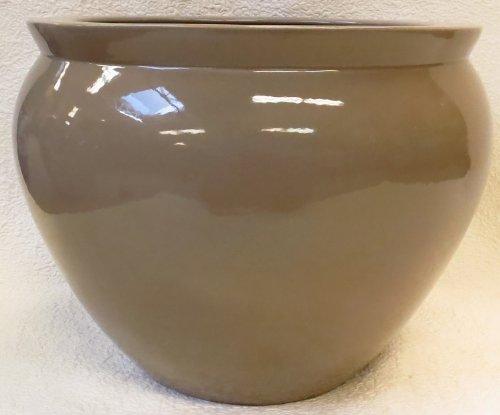Latte Tan Porcelain Fish Bowl 20'' by BlueWhiteVases