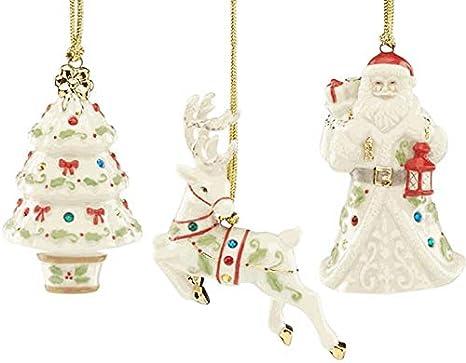Lenox Christmas Ornaments.Amazon Com Lenox Set Of 3 Christmas Holiday Gemmed
