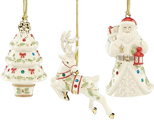 - Lenox Set of 3 Christmas Holiday Gemmed Porcelain Ornament Set Ivory Xmas Tree Santa Reindeer New in Box