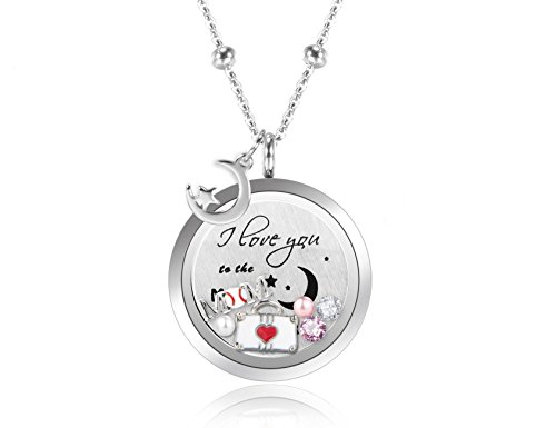 BESTTERN Stainless Steel Floating Charm Locket Pendant Necklace with Pearls CZ Stones
