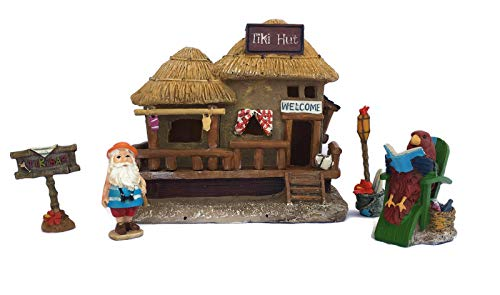 Midwest Design Imports, Inc. Gnome Fairy Garden LED Tiki House & Accessories Starter Kit Bundle: Five Items: LED Tiki House, Gnome & Accessories from Midwest Design Imports, Inc.