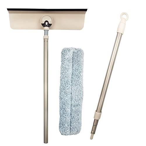 Professional Window Squeegee Kit 3 in 1 Window Cleaning for Glass, Mirror, Shower, Home, Bathroom, and Cars. Aluminum Alloy Extension Pole with Microfiber Scrubber, Compact, Detachable Cleaner. by Ezinnovas (Image #2)