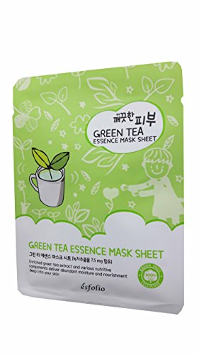 4 Mask Sheets of Esfolio Pure Skin Green Tea Essence Mask Sheet. Enriched with green tea extract and various nutritive components to deliver abundant moisture and nourishment. (25 ml/ (400 Mg Nutrition Herbs)