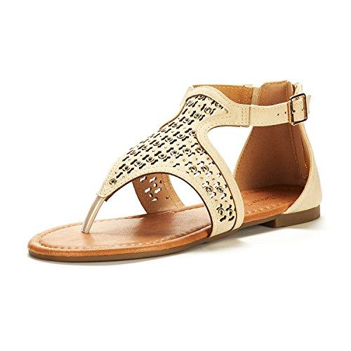DREAM PAIRS Women's Roman_02 Nude Fashion Gladiator Design Ankle Strap Flat Sandals Size 7.5 M ()