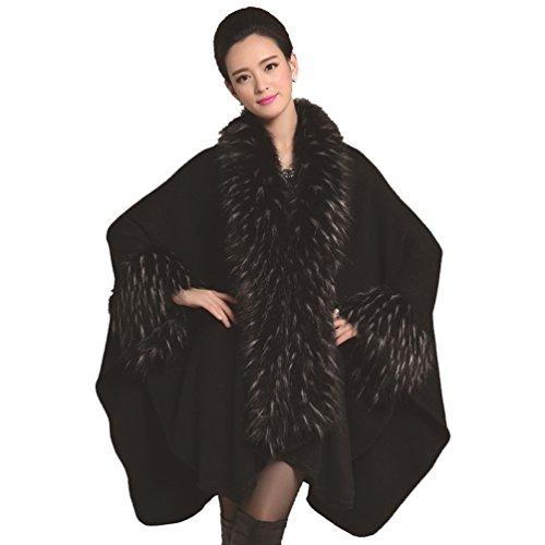 YouPue Femmes Hiver Chale Manteau Cape Faux Fourrure Capes Manteaux Poncho Cardigan Pardessus Noir Noir