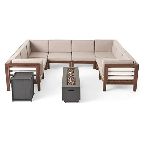 Great Deal Furniture Philipppa Outdoor U-Shaped Sectional Sofa Set with Fire Pit - 10-Piece 8-Seater - Acacia Wood - Outdoor Cushions - Dark Brown with Beige and Dark Gray