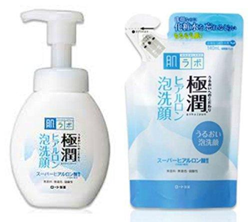 Hada Labo èšÅ'ç Hada Labo Rohto Gokujun Hyaluronic Acid Cleansing Foam Parallel Import Product Bottle 160ml & Refill 140ml Set