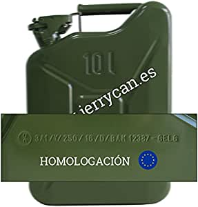 JERRY CAN, BIDÓN METALICO 10L VERDE MILITAR - HOMOLOGADO