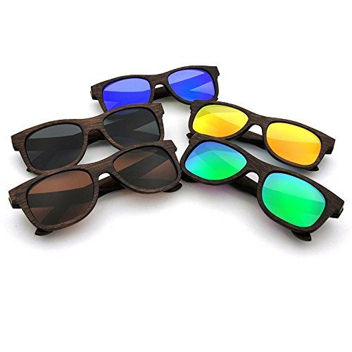et Gris lentille Vintage Faits Une UV400 Convient de à quotid Soleil Protection Bleu Bois Couleur Main Utilisation Unisexe Lunettes la pour en extérieure Adulte Polyvalent pour z7PwS1qS