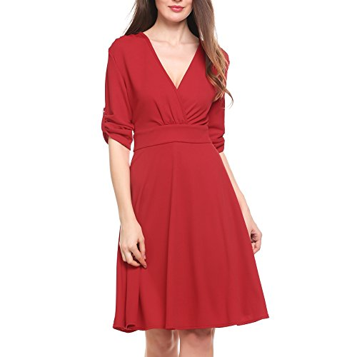 ANGVNS Womens Crossover Sleeve Pleated
