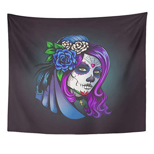 Emvency Tapestry Calavera Skull Day of Dead Make Up Girl with Flowers in Hair Sugar Carnival Home Decor Wall Hanging for Living Room Bedroom Dorm 60x80 Inches -
