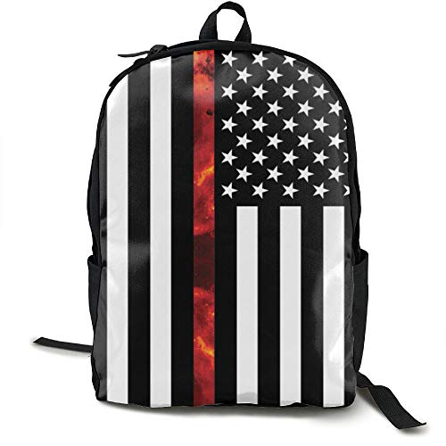 Price comparison product image Adult Firefighter Thin Red Fire Line Flag Backpack School Bag Outdoor Casual Multipurpose Fantasy Laptop Travel Bags
