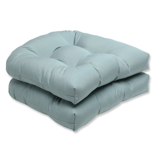(Pillow Perfect Indoor/Outdoor Wicker Seat Cushion with Sunbrella Canvas Spa Fabric, Set of 2, Blue)