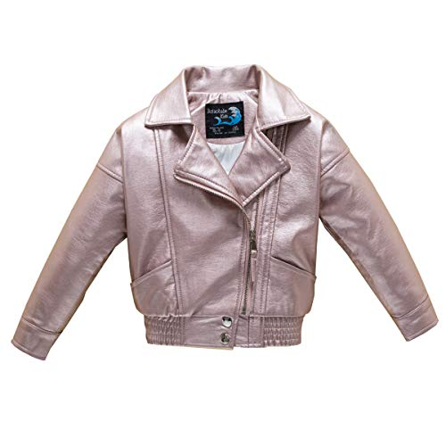 idered Floral Faux Leather Motorcycle Moto Biker Jackets Rose Gold Size 10 ()