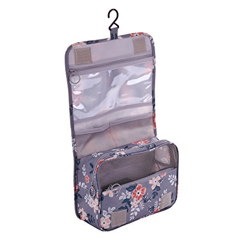 Shopper Joy Hanging Toiletry Bag Travel Cosmetics Makeup Organizer Bag for Women Men for Travelling Holiday Camping Outdoor - Light Gray + Flowers