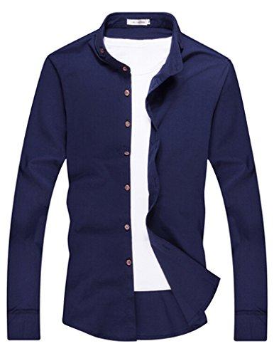 VENTELAN Men's Long Sleeve Fashion 2015 New Collared Geometric Slim Fit Shirt