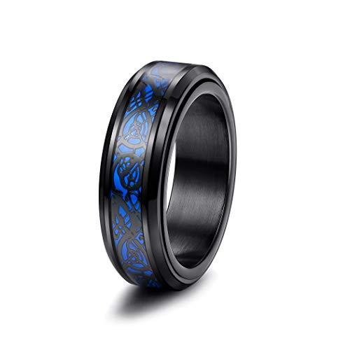 Yadoca 8MM Men's Stainless Steel Spinner Ring Blue Carbon Fiber Black Celtic Dragon Tungsten Carbide Ring Wedding Band US 7