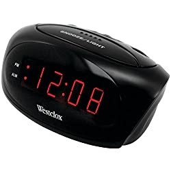 Westclox 70044A Super-Loud LED Electric Alarm Clock, Black,