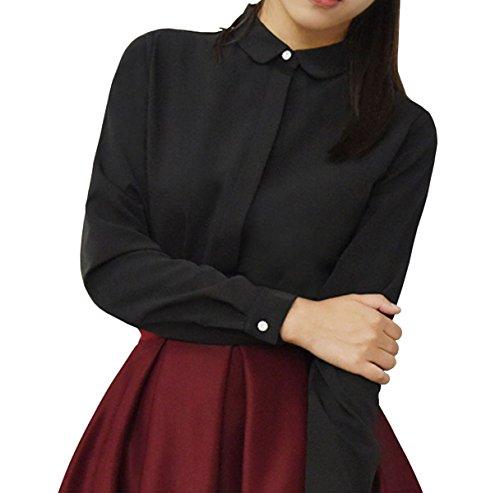 PurpuraErizo Elegante Mujeres Camisa Camisas Con Manga Larga Blusas Trabajo Regalo Negro