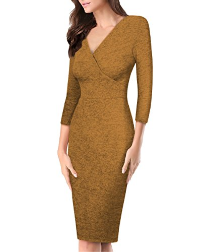 Women's Plum Cross V Neck MIDI Dress KDR44322 G4000 Mustard - Mustard Blended