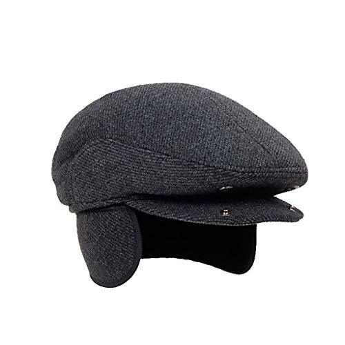 (Winter Elderly Men Hat Newsboy Cap Flat Beret Cap for Male Thick Wool Earflap Hats Vintage Plaid Warm Hat (Color : A, Size : 56cm))