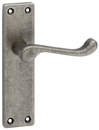 URFIC 100-325-AT LA Victorian Scroll Antique Pewter Lever Latch Door Handle Set by URFIC -