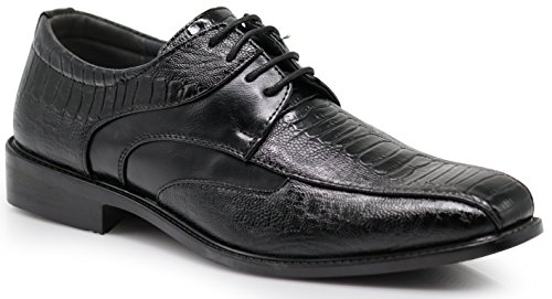 - Edmond Men's Fashion Oxfords Lace Up Tuxedo Dress Shoes with Alligator Prints (8.5 D(M) US, Black)