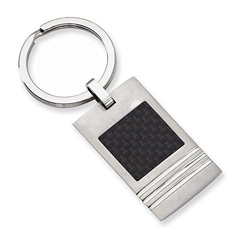 Stainless Steel Brushed Black Carbon Fiber Inlay Key Ring (Carbon Fiber Keychain compare prices)