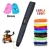 3D Pen Rilitor Intelligent 3D Printing Drawing Printer Pen with PLA Filament Refills 8 Speed Printing & Temperature Control 12 Color 120ft Simple Handled 3D Printer Pen for Kids Adults Arts