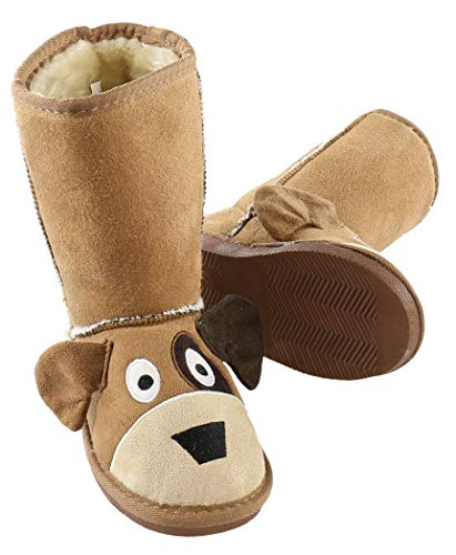 Price comparison product image Dog Toasty Toez Cute Animal Character Slippers for Kids by LazyOne | Boys and Girls Creature Slipper Boots (Medium)