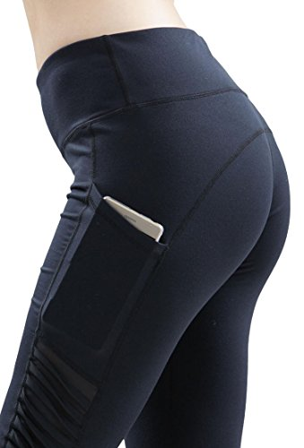 Aleumdr Womens Ruched High Waist Yoga Tight Shorts Pants Capri Cropped Leggings with Side Pocket Large Size (Ruched Pocket Short)