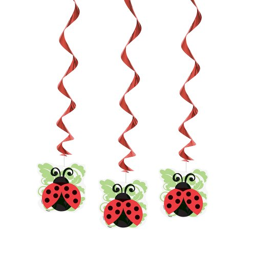 Hanging Ladybug Party Decorations 3ct