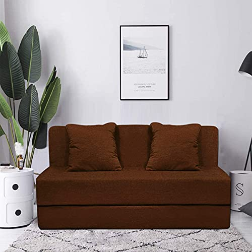 Aart Store Sofa Cum Bed Three Seater 5x6 Feet with Two Cushion Perfect for Guest  Brown