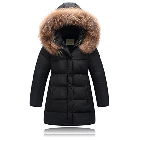 Seeduck Big Girls' Winter Parka Down Coat Puffer Jacket Padded Overcoat with Fur Hood (6T=130CM=51.2 Inch, Black)