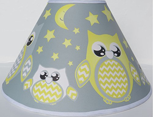 Grey and Yellow Owl Lamp Shade / Children's Yellow Owl Nursery Room Decor Presto Chango Decor inc Yellowowlshade