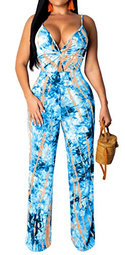 Women's Sexy V Neck Spaghetti Strap Floral Print Jumpsuits Wide Leg Pants Summer Ladies ()