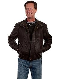 Western Jacket Mens Leather Zip Double Collar Comfort Waist 48