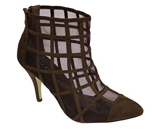 Fiesta Tobillo Boda Botas marrón Diseñador Tacón Zapatos Milaya Paseo Zapatillas Mujeres Nupcial Clásico Señoras Alto wqxPAFXaU