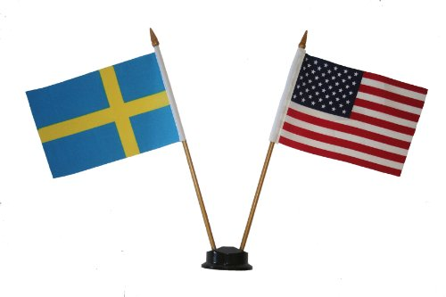 USA & SWEDEN Small 4 X 6 Inch Mini Double Country Stick Flag Banner with BLACK STAND on a 10 Inch Plastic Pole .. (Sweden Country Flag)