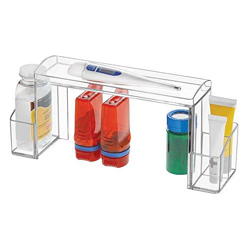 mDesign Bathroom Small Plastic Medicine Cabinet High-Rise Storage Organizer for Vitamins, Medical Supplies Makeup Door Shelf Organization - Clear