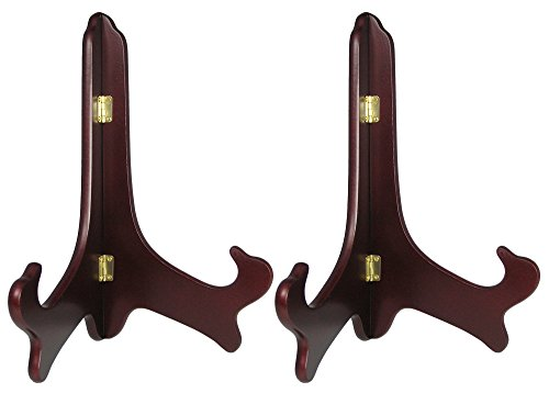 Wood Easel Plate Holder Folding Display Stands - Rich Dark Brown Mahogany - Premium Quality - Pack of 2 Pieces - 11 Inch